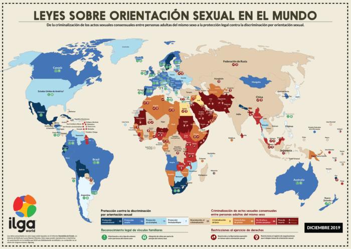 Situación LGTBI en el mundo (diciembre 2019) según ILGA